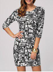 Rock Roll Graphic Bodycon Mini Dress - COLORMIX 2XL