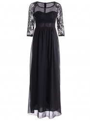 Lace Sleeves High Waist Maxi Evening Dress