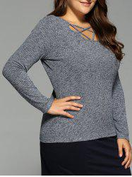 Long Sleeve Strappy Top - GRAY XL