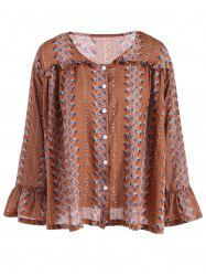 Buttoned Flare Sleeve Print Blouse -