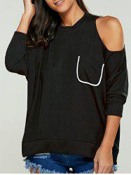 Patch Pocket Cold Shoulder Sweatshirt