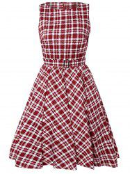 Plaid Belted Vintage Dress