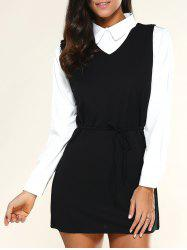 V Neck Drawstring Dress + Long Sleeve Shirt - BLACK
