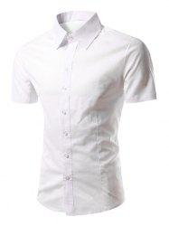 Slimming Turn-Down Collar Short Sleeve Shirt - WHITE