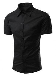Slimming Turn-Down Collar Short Sleeve Shirt - BLACK