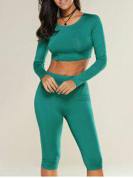 Cropped Sports Top with Shorts - GREEN