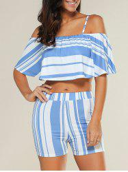 Stripe Overlay Off Shoulder Cropped Top with Blue and White Shorts -
