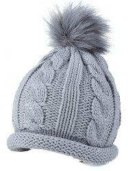 Casual Pom Ball Hemp Flowers Flange Winter Beanie Cap
