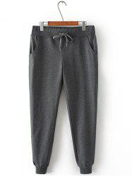 Plus Size Drawstring Harem Jogger Pants - GRAY
