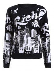 Letter and Building Print Fleece Sweatshirt -