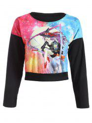 Galaxy Witch Print Cropped Sweatshirt -