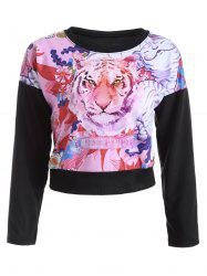 Tiger and Floral Print Cropped Sweatshirt