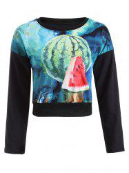 Watermelon Print Cropped Sweatshirt -