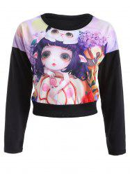 Doll and Kitten Print Cropped Sweatshirt -