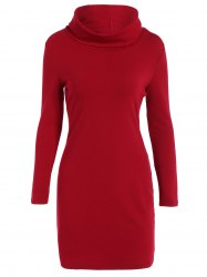 Hign Neck Knitted Mini Robe moulante - Rouge