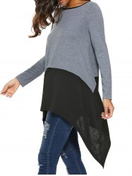 Long Sleeve Asymmetrical Blouse - BLACK AND GREY XL