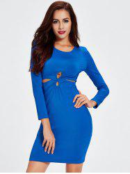 Long Sleeve Knot Front Bodycon Dress -