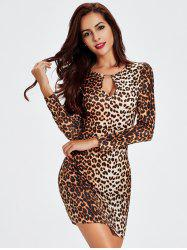 Keyhole Leopard Long Sleeve Mini Cocktail Dress - LEOPARD