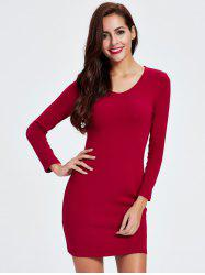 Short Tight Long Sleeve Bodycon Cocktail Dress - RED 2XL