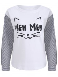 Cartoon Print Striped Long Sleeve T-Shirt -