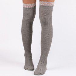 Casual Lace Edge Knit Stockings - LIGHT GRAY