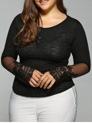 Plus Size Long Sleeve Lace Inset T-Shirt - BLACK