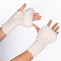 Casual Faux Fur Edge Plaid Knit Fingerless Gloves -