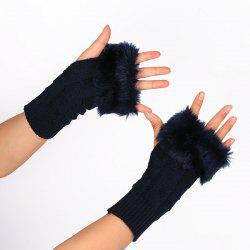 Casual Faux Fur Edge Plaid Knit Fingerless Gloves - PURPLISH BLUE