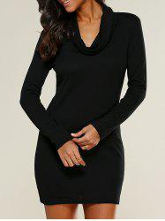 Cowl Collar Bodycon Dress - BLACK S