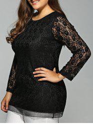 Plus Size Long Sleeve Lace Tee -