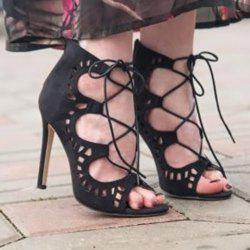 High Stiletto Heel Lace Up Cut Out Sandals -