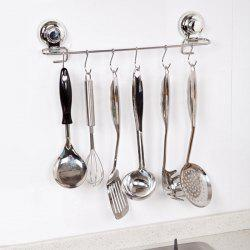 Home Decor Wall Sucker Stainless Steel 6 Hooks Rack -
