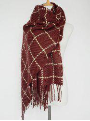 Tasseled Plaid Knitted Scarf -