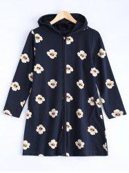 Long Style Hooded Floral Coat -
