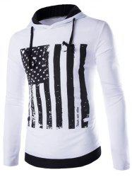 Flag Pattern Contrast Trim Drawstring Pullover Hoodie - WHITE XL