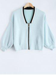 Zip Up Batwing Sleeve Short Cardigan
