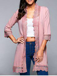 Lace Spliced Asymmetric Cardigan -