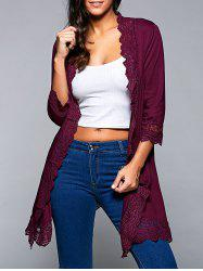 Lace Spliced Asymmetric Cardigan