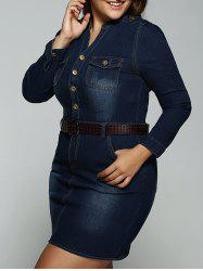 Plus Size Belted V Neck Fitted Jean Shirt Dress - DEEP BLUE 5XL