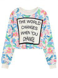 Crew Neck Floral Letter Print Cropped Sweatshirt