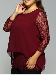 Plus Size Lace Spliced Asymmetric Chiffon Top