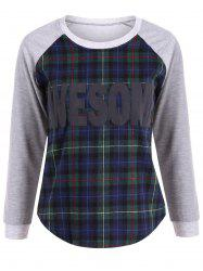 Plus Size Raglan Sleeve Color Block Plaid Sweatshirt -