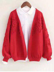 Floral Applique Collarless Cardigan