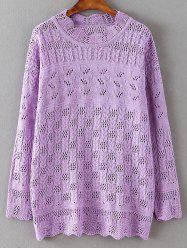 Cut Out Loose Casual Sweater - PURPLE