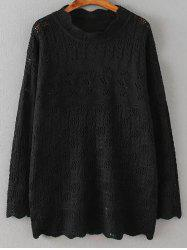 Cut Out Loose Casual Sweater - BLACK