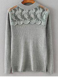 Dentelle Spliced ​​lâche Sweater - Gris