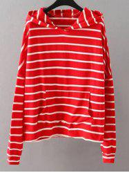 Striped Pockets Sweatshirt - RED