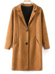 Single Breasted Lapel Faux Suede Coat -