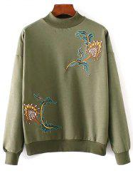 Embroidered High Neck Sweatshirt -