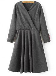 Long Sleeve Crossover Modest A Line Dress
